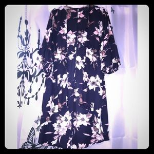 Fashion Nova Floral Ruffle Sleeve Kimono 1X